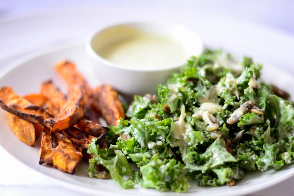 Kale Salad with Creamy Caesar Dressing